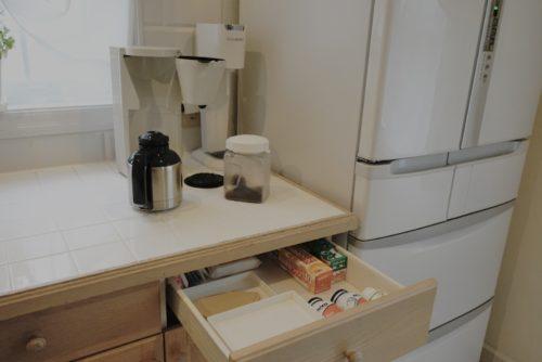 コーヒーフィルターの収納場所